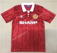 Retro Version 1994 Manchester United Home Red Thailand Soccer Jersey AAA-908