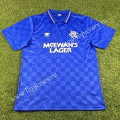 Retro Version 1987-1990 Rangers Home Blue Thailand Soccer Jersey AAA-503