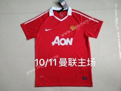 Retro Version 110-11 Manchester United Home Red Thailand Soccer Jersey AAA