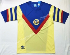 Retro Version 1987 Club América Home Yellow Thailand Soccer Jersey AAA-912
