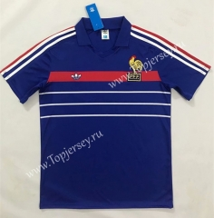 Retro Version 1984-1986 France Home Blue Thailand Soccer Jersey AAA-SL