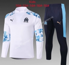 2020-2021 Olympique de Marseille White Kids/Youth Soccer Tracksuit-815