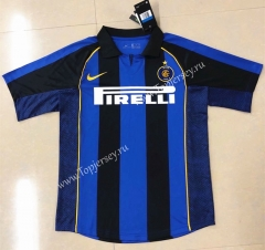 Retro Version 2001-2002 Inter Milan Home Blue&Black Thailand Soccer Jersey AAA-HR