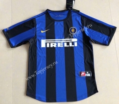 Retro Version 1999-2000 Inter Milan Home Blue&Black Thailand Soccer Jersey AAA-HR