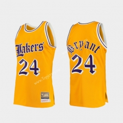 Retro Version Los Angeles Lakers Yellow #24 NBA Jersey