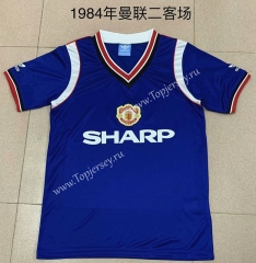 Retro Version 1984 Manchester United 2nd Away Blue Thailand Soccer Jersey AAA-AY