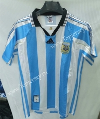 Retro Version 1998 Argentina Home Blue and White Thailand Soccer Jersey AAA