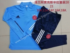 2020-2021 Ajax Light Blue Kids/Youth Soccer Tracksuit-815
