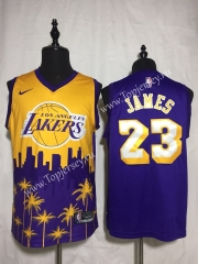 Joint Version Los Angeles Lakers Purple&Yellow #23 NBA Jersey