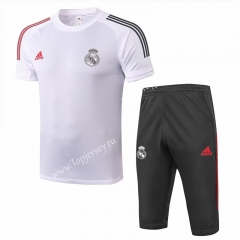 2020-2021 Real Madrid White Short-sleeved Soccer Tracksuit-815