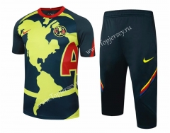 2020-2021 Club América Yellow&Blue Short-sleeved Soccer Tracksuit-815
