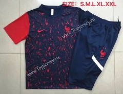 2020-2021 France Black (pad printing) Short-Sleeved Thailand Soccer Tracksuit-815