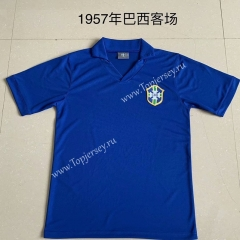 Retro Version 1957 Brazil Away Blue Thailand Soccer Jersey AAA-AY