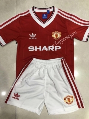 Retro Version 84 Manchester United Home Red Kids/Youth Soccer Uniform-C1046