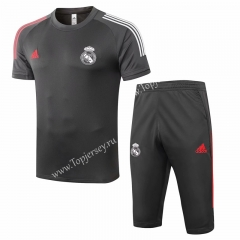 2020-2021 Real Madrid Dark Gray Short-sleeved Soccer Tracksuit-815