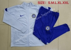 2020-2021 Chelsea High Collar Light Gray Thailand Soccer Jacket Uniform-815
