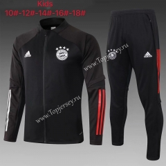 2020-2021 Bayern München Black Kids/Youth Soccer Jacket Uniform-815