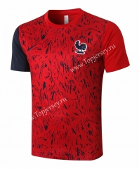 2020-2021 France Red (pad printing) Short-Sleeved Thailand Soccer Tracksuit Top-815