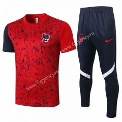 2020-2021 France Red (pad printing) Short-Sleeved Thailand Soccer Tracksuit-815