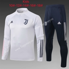 2020-2021 Juventus Light Gray Kids/Youth Soccer Tracksuit-815