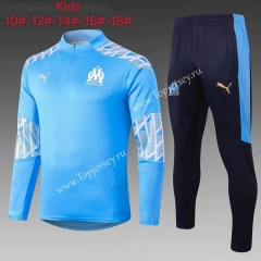 2020-2021 Olympique de Marseille Light Blue Kids/Youth Soccer Tracksuit-815