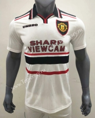 Retro Version 1998-1999 Manchester United Away White Thailand Soccer Jersey AAA-416