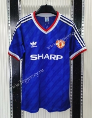 Retro Version 1986 Manchester United Away Blue Thailand Soccer Jersey AAA-C1046