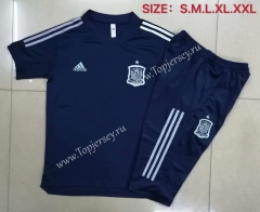 2020-2021 Spain Royal Blue Short-Sleeved Thailand Soccer Tracksuit--815