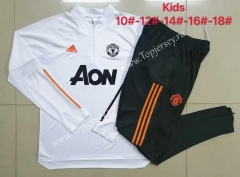 2020-2021 Manchester United White Kids/Youth Soccer Tracksuit-815