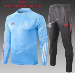 2020-2021 Real Madrid Light Blue Kids/Youth Soccer Tracksuit-815