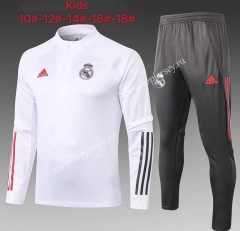 2020-2021 Real Madrid White Kids/Youth Soccer Tracksuit-815
