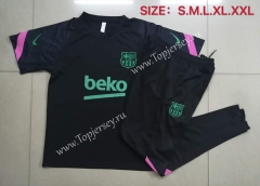 2020-2021 Barcelona Black Short-sleeved Thailand Tracksuit -815