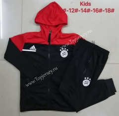 2020-2021 Bayern München Black Kids/Youth Soccer Jacket Uniform With Hat-815