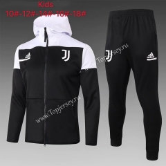 2020-2021 Juventus Black Kids/Youth Soccer Jacket Uniform With White Hat-815