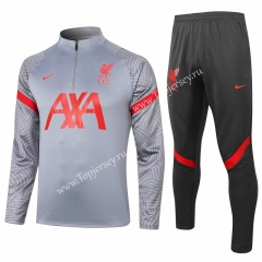 2020-2021 Liverpool Light Gray Thailand Soccer Tracksuit -815