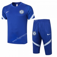 2020-2021 Chelsea Camouflage Blue Short-sleeved Thailand Soccer Tracksuit-815
