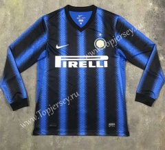 Retro Version 2010-2011 Inter Milan Home Blue&Black LS Thailand Soccer Jersey AAA-SL