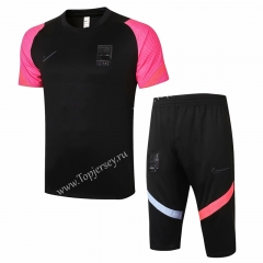 2020-2021 Korea Republic Black Short-sleeved Thailand Soccer Tracksuit-815
