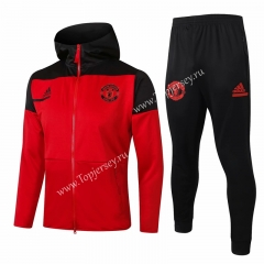 2020-2021 Manchester United Red Thailand Soccer Jacket Uniform With Hat-815