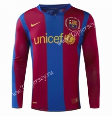 Retro Version 07-08 Barcelona Home Red&Blue Thailand LS Soccer Jersey AAA-908