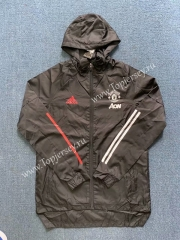 2020-2021 Manchester United Black Trench Coats With Hat Version 2-WD