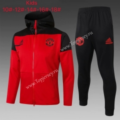 2020-2021 Manchester United Red Kids/Youth Soccer Jacket Uniform With Hat-815