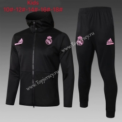 2020-2021 Real Madrid Black Kids/Youth Soccer Jacket Uniform With Hat-815