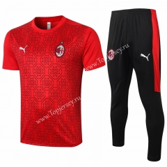 2020-2021 AC Milan Red (Pad printing) Thailand Short-sleeved Tracksuit-815