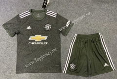 2020-2021 Manchester United Away Army Green Soccer Uniform-TJ