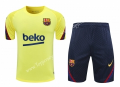 2020-2021 Barcelona Yellow Short-sleeved Thailand Tracksuit -418