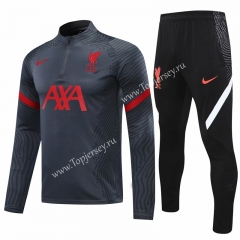 2020-2021 Liverpool Dark Gray Thailand Soccer Tracksuit -418