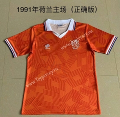 Retro Version 1991 Netherlands Home Orange Thailand Soccer Jersey AAA-AY
