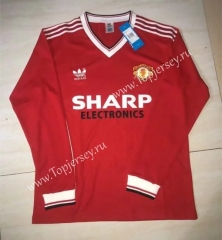 Retro Version 1985 Manchester United Home Red LS Thailand Soccer Jersey AAA