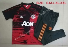 2020-2021 Manchester United Pad Printing Red Short-sleeved Thailand Soccer Tracksuit-815